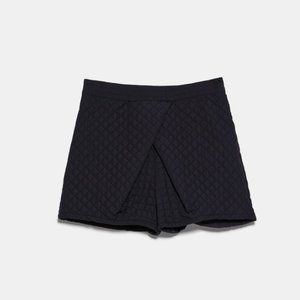 NWT Zara Black High Waisted Quilted Shorts S